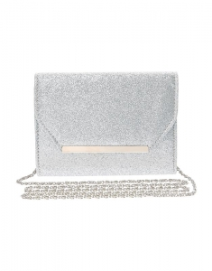 Claire's Silver Glitter Bar Clutch Cross body Bag 91817