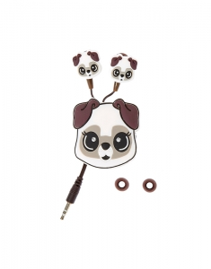 Claire's White Pug Earbuds with Winder 3582