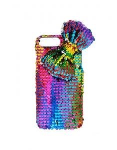 Claire's Rainbow Bow Reverse Sequin Phone Case 37944