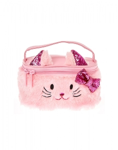 Claire's Club Plush Pink Kitty Cat Train Cosmetics Case 25097