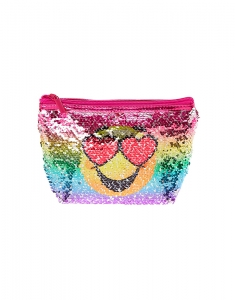 Claire's Reversible Sequin Emoji Cosmetic Bag 26494