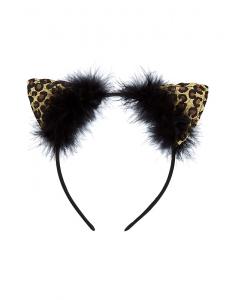 ea8b24a394a2 Accesoriu petrecere Claire's Leopard Glitter Cat Ears Headband 12572 ...