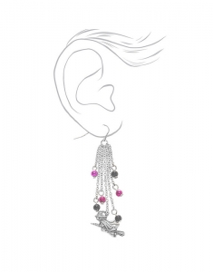 Claire's Silver Flying Witch Drop Earrings 3340