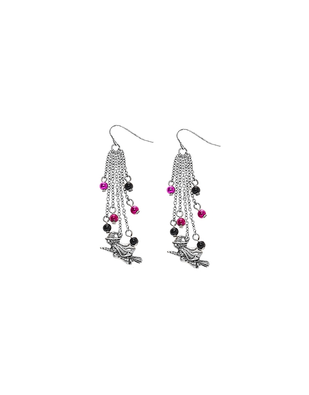 Accesoriu petrecere Claire's Silver Flying Witch Drop Earrings 3340