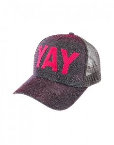 Claire's YAY Glitter Baseball Cap - Pink 88068
