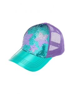Claire's Star Sequin Baseball Cap - Turquoise 17830