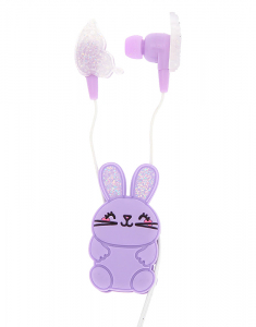Claire's Glitter Bunny Earbuds with Winder 15253