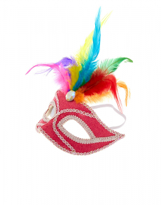 Claire's Rainbow Feather Gem Mask 15963