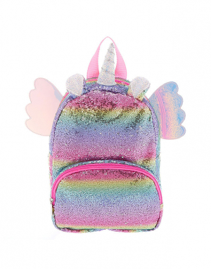 Claire's Club Rainbow Flying Unicorn Sequins Backpack 26358