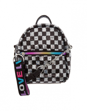 Claire's Checkered Sequin Mini Backpack Crossbody Bag 75820