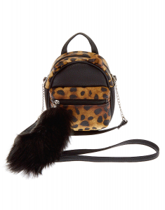 Claire's Faux Leather Leopard Cat Mini Backpack Crossbody Bag 16313