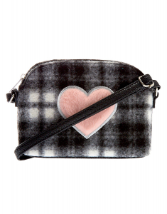 Claire's Fuzzy Flannel Heart Crossbody Bag 46586