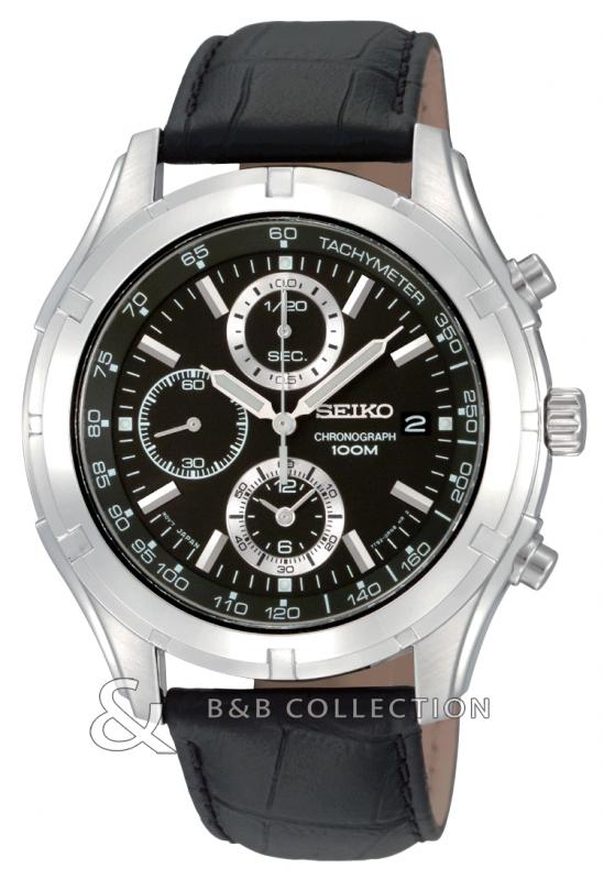 SEIKO SNDC39P - Мужские наручные часы хронограф, круглой формы, кожаном ремешке из телячей кожи, циферблат черного