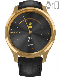 Garmin Vívomove® Luxe Gold Black Leather 010-02241-22