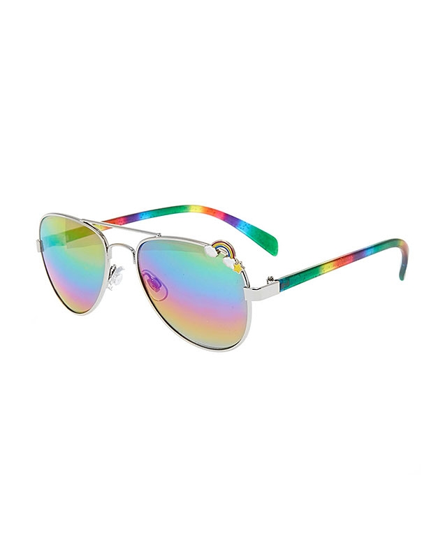 Claire's Kids Rainbow Print Aviator Tinted Sunglasses 30782