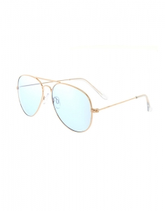 Claire's Blue Tinted Gold-Tone Aviator Sunglasses 51880